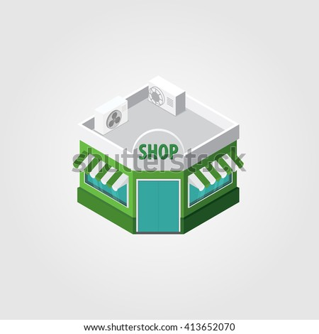 Isometric modern architecture icon illustration.
