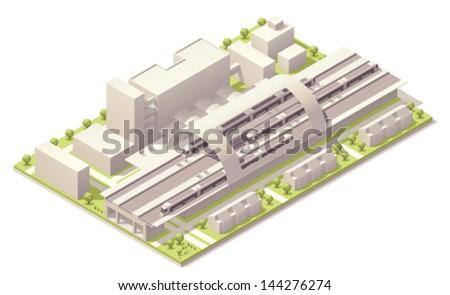 Isometric modern train station - stock vector