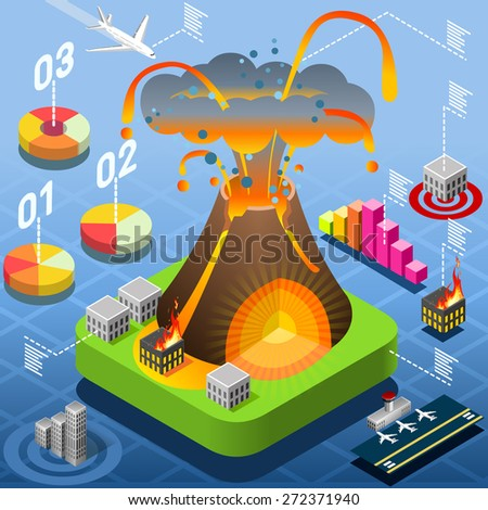 Isometric Natural Disaster Tile - Volcano Eruption Infographic - stock vector
