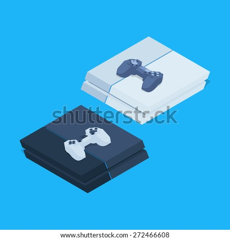 Isometric nextgen gaming consoles with gamepads. Illustration suitable for advertising and promotion - stock vector