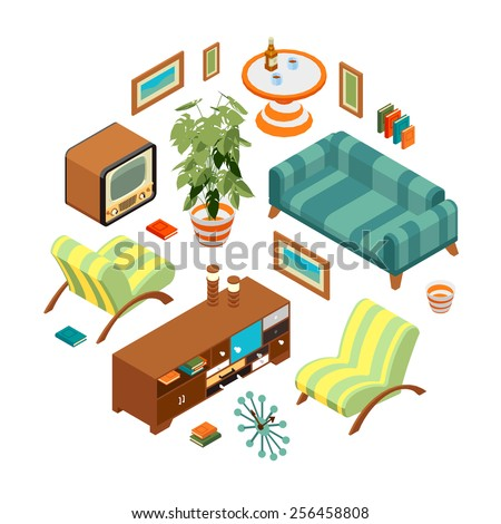 Isometric objects from a retro living room. The objects are isolated against the white background and shown from different sides - stock vector