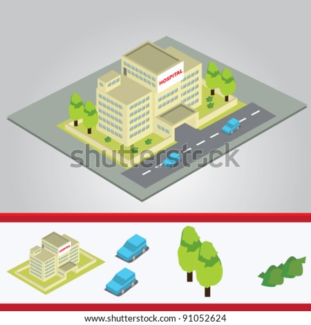 isometric of hospital building - stock vector