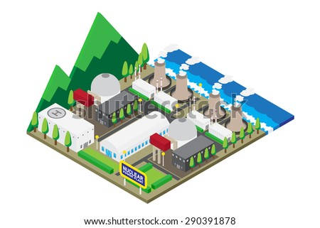 Isometric of nuclear power plants, vector, illustration. - stock vector