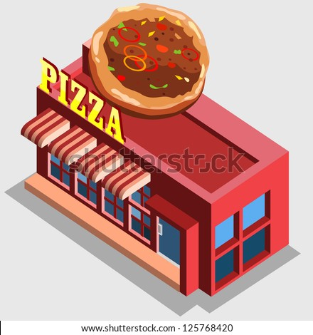 isometric of pizza house - stock vector