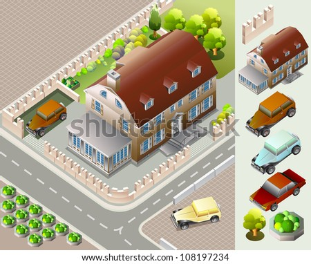 isometric of urban map.  very detail vector isometric - stock vector