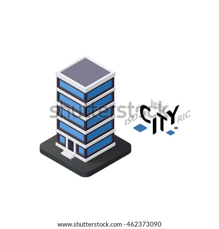 Isometric office building flat icon isolated on white background, building city infographic element, digital low poly graphic, vector illustration