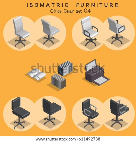 isometric office furniture vector collection. Isometric Office Chair Furniture Set Vector Collection