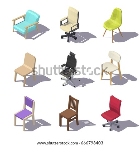 isometric office furniture vector collection. contemporary collection isometric office chairs on white background vector low poly illustration for furniture collection