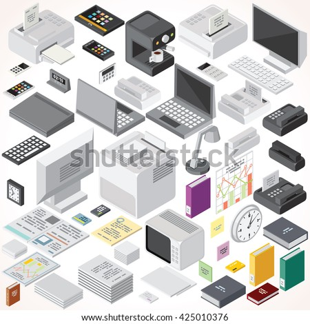 isometric office furniture vector collection. Isometric Office Equipments And Interior Items. Vector Collection. Set Of Electronic Equipments, Workplace Furniture Collection T