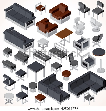 isometric office furniture vector collection. Isometric Office Furniture. Vector Collection. Set Of Various Cabinets, Shelves, Tables, Furniture Collection O
