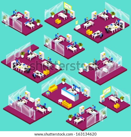 Isometric office interior icons: reception, top management, meeting room, waiting room, workspace, open space, co-working, colleagues, chairs and working places. - stock vector