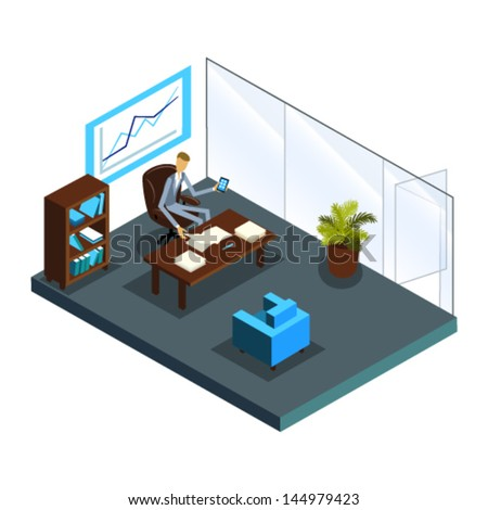isometric office furniture vector collection. Isometric Office Of Top Manager; Business Call; Interior And Furniture Vector Collection I