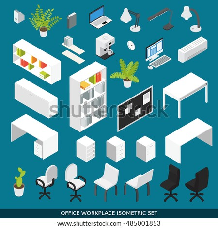 isometric office furniture vector collection. isometric office workplace icon set with attributes and furniture for the organization of vector collection i