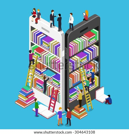 Isometric online mobile library vector flat concept. E-books 3d illustration with micro people - stock vector