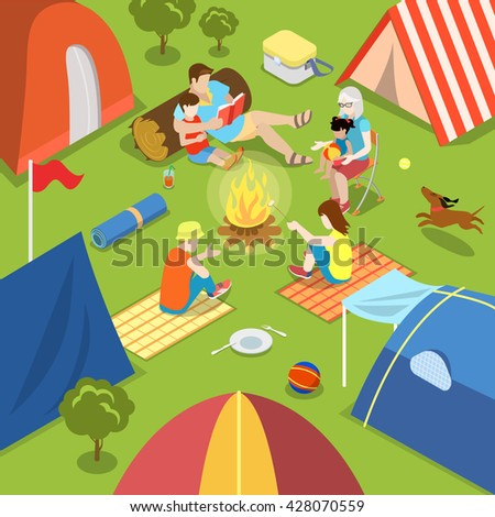 Isometric Outdoor Camping Bonfire Picnic Family Lifestyle Time Spending Concept Flat 3d Isometry Parents Children