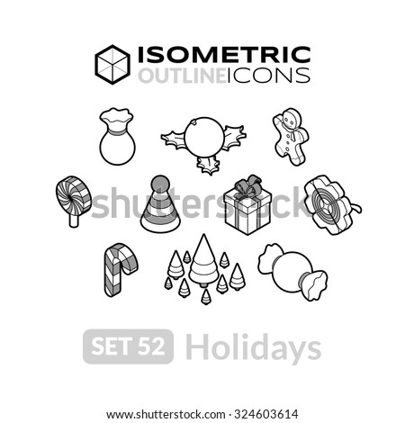 Isometric outline icons, 3D pictograms vector set 52 - Holidays symbol collection - stock vector