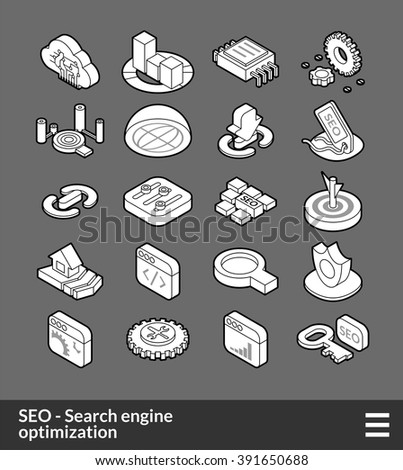 Isometric outline icons, 3D pictograms vector set - Search engine optimization symbol collection - stock vector
