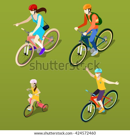 Isometric People. Isometric Bicycle. Family Cyclists. Family Vacation. Healthy Lifestyle. Isometric Transportation. Girl on Bicycle. Boy on Bicycle. Active People. Vector illustration - stock vector