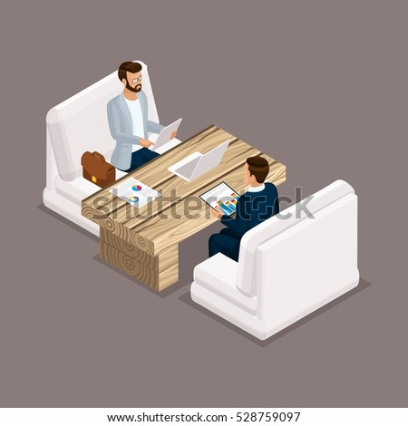 Isometric people isometric businessmen, negotiation, investment, graphic, business meeting. Office modern furniture, modern technology. Vector illustration.
