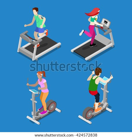 Isometric People. Man and Woman Running on Treadmill in Gym. Active People. Healthy Lifestyle. Sport Girl. Sportsman in Gym. Running Athlete. People Training. Vector illustration - stock vector