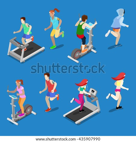 Isometric People. Man and Woman Running on Treadmill in Gym. Running People. Vector illustration - stock vector