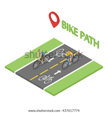Isometric people on bicycle ride on the bicycle lane. Bike path. Flat style, fitness, sport, man, woman. - stock vector