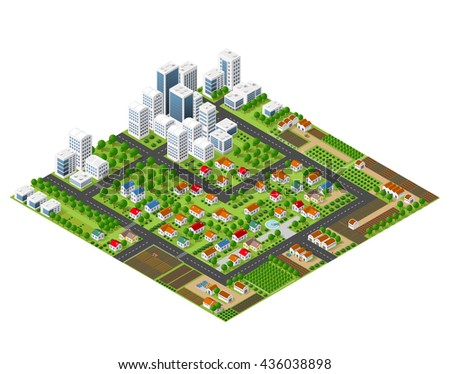 Isometric perspective city with streets, houses, skyscrapers, parks and trees - stock vector