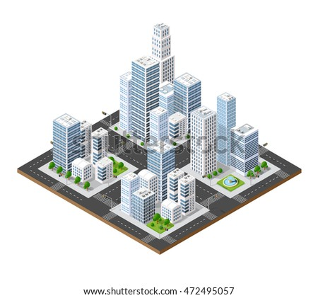 Isometric perspective 3D city with streets, houses, skyscrapers, parks and trees
