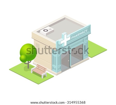 Isometric pharmacy building and tree. - stock vector