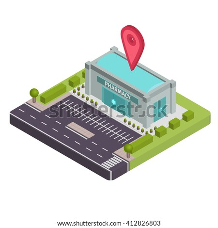 Isometric pharmacy vector illustration