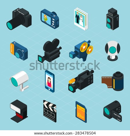Isometric photo and video icons set with professional camera and equipment isolated vector illustration - stock vector