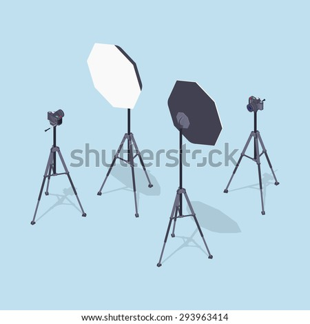 Isometric photo cameras, tripods and softboxes. Illustration suitable for advertising and promotion - stock vector