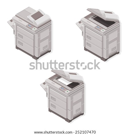 Isometric Photocopier. Photocopier Machine. Isometric Photocopier Machine open and closed. - stock vector