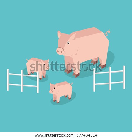 Isometric pig with piglets isolated. Pig family animal farm with little piglet, funny drawing livestock farm boar or big swine, 3d funny cute pig with pigling stand near fence. Vector illustration - stock vector