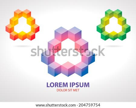 Isometric Pink-Blue, Yellow-Red and Yellow-Green Corporate Logo Icon in the Form of Gradient Arrow - stock vector