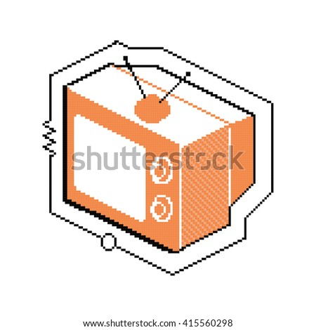 Isometric pixel image of a vintage television set.  - stock vector