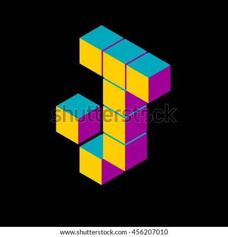 isometric pixel letter j 3D letter o Isometric j abc. Alphabet on black . pixel j letters, isometric lettering. 3d j. Geometric alphabet, Cube font. Cube letters. 3d pixel lettering, Word elements j - stock vector