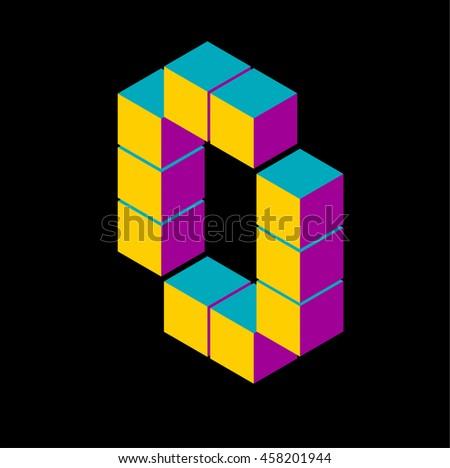isometric pixel letter o 3D letter o Isometric o abc. Alphabet on black . pixel o letters, isometric lettering. 3d o. Geometric alphabet, Cube font. Cube letters. 3d pixel lettering, Word elements o - stock vector