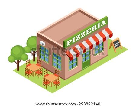 Isometric pizzeria. Vector  - stock vector