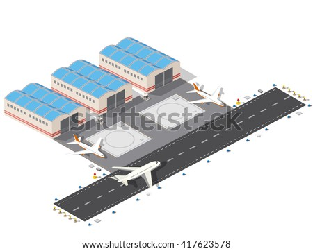 Isometric plan of the city airport,  flight of construction and building, terminal, planes and  vector illustration.