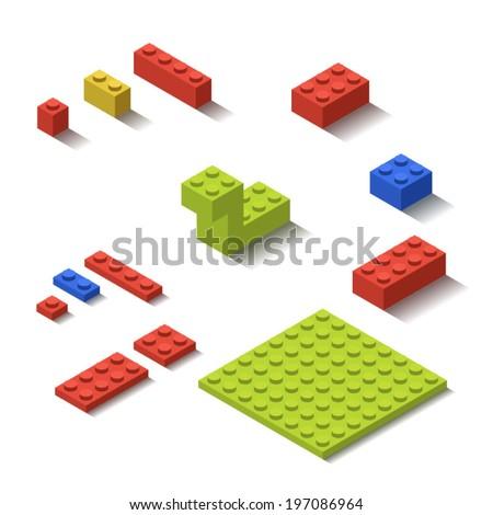 Isometric Plastic Lego Building Blocks and Tiles - stock vector