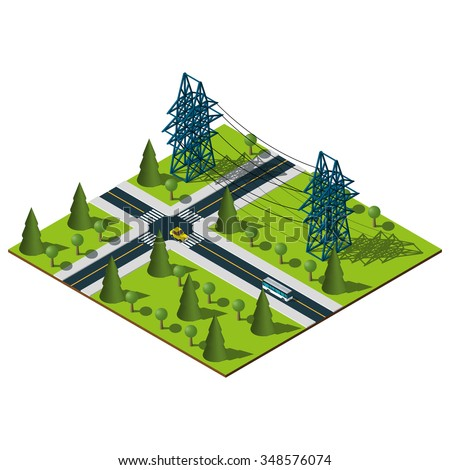 Isometric Power lines illustration. Isometric city. Vector map. - stock vector