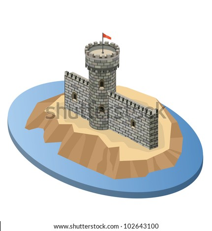 Isometric projection of a medieval castle on an island - stock vector