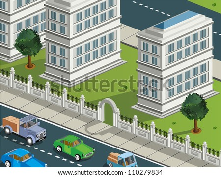 Isometric projection of the vector of the city with  cars - stock vector