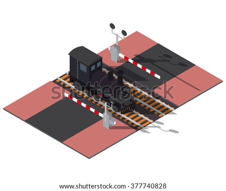 Isometric railway barriers and train. 3d building icon. City map elements - stock vector