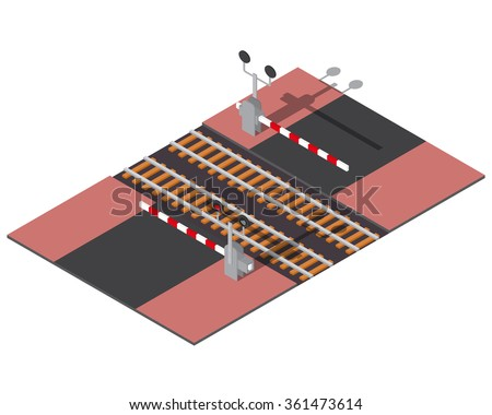 Isometric railway barriers. 3d building icon. City map elements - stock vector