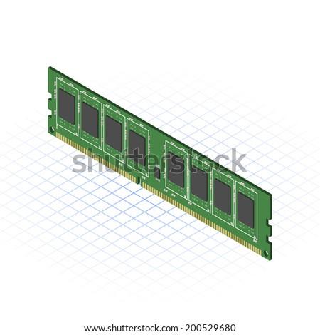 Isometric Random Access Memory Vector Illustration - stock vector