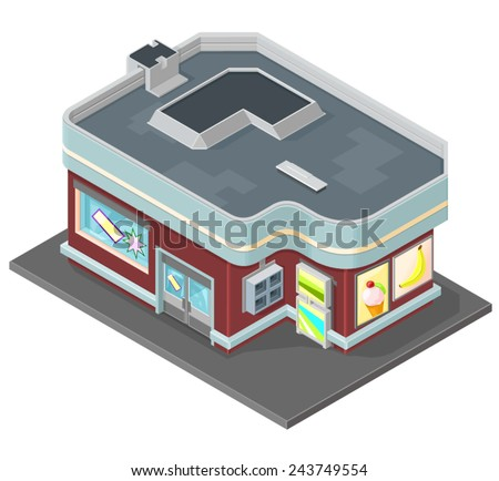 isometric retail store mini mart shop. Isometric mini mart store - stock vector