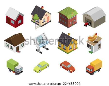 Isometric Retro Flat Cars House Real Estate Icons and Symbols Set Isolated Vector Illustration - stock vector