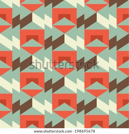 Isometric Retro Seamless Pattern - stock vector